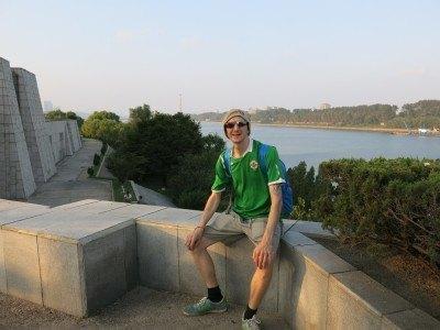 Relaxing on Yanggak Island, Pyongyang, North Korea.