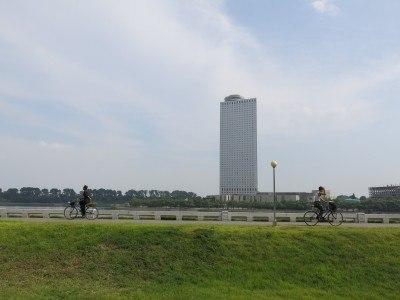 The Yanggakdo Hotel sits on Yanggak island in Pyongyang