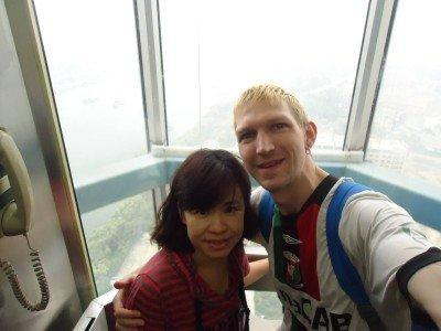 In the lift at the Yanggakdo