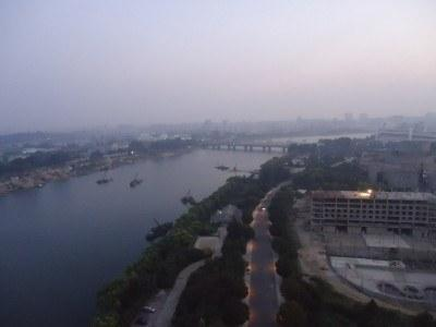 View of Pyongyang out of our bedroom window