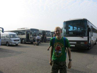 Arriving at the Yanggakdo Hotel by tour bus