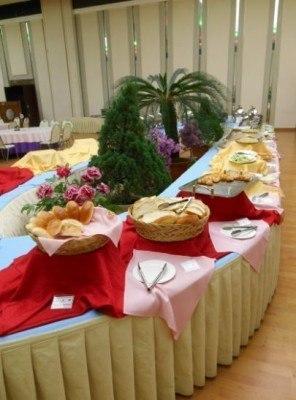 Breakfast in the main restaurant in Yanggakdo Hotel, Pyongyang, North Korea