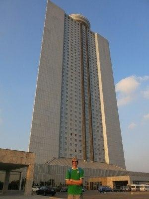 Out the front of the Yanggakdo International Hotel in Pyongyang, North Korea