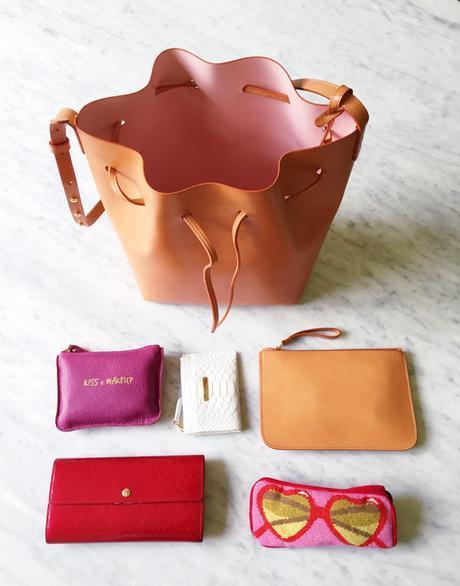 mansur gavriel bucket bag cammello rosa, review, gigi new york mini zip card case, jonathan adler heart sunglasses case, louis vuitton vernis long wallet