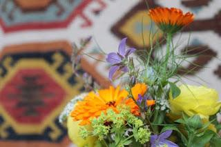 Calendula posy.  Tuckshop Flowers pop up for British Flowers Week 2015 with More By Design, Birmingham