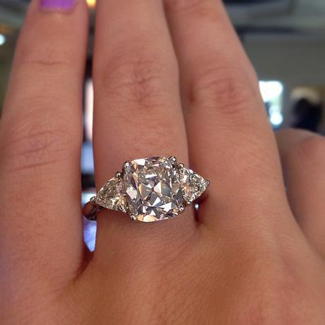 Antique cushion cut engagement ring