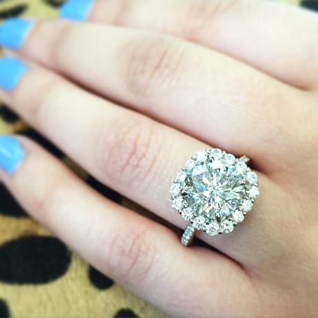 14k White Gold 3.84ct Diamond Halo Engagement Ring