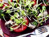 Beetroot Tomato Sprouts Sardines Salad with Mint Lemon Dressing