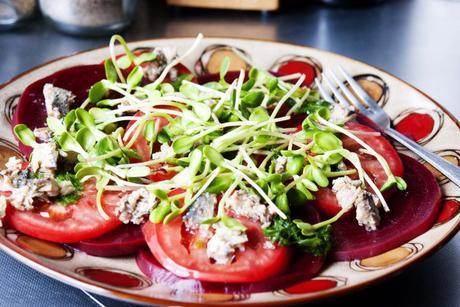 Beetroot Tomato Sprouts and Sardines Salad with Mint and Lemon Dressing