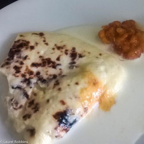 Finnish food Leipaejuusto squeaky cheese served with cloudberry jam