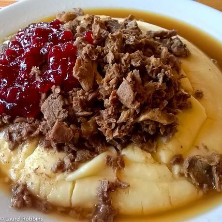Finnish food reindeer meat and mashed potatoes at Hossa Reindeer Farm and Kivelion copy
