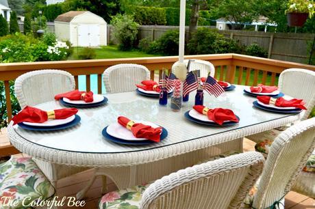 red, white and blue table setting for the Fourth of July