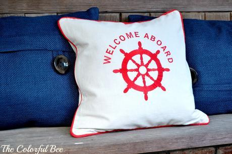 Welcome Aboard pillow and blue pillows for July Fourth celebration