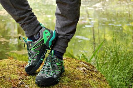 Merrell Capra hiking shoes by pond