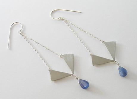 Geometric Dangle Earrings - Long Triangle Chandelier Earrings - Sterling Silver with Blue Kyanite Drops