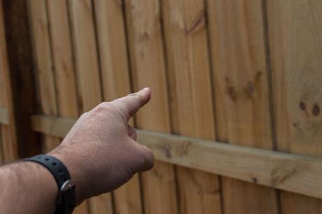 pointing at wooden fence