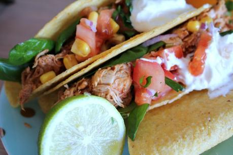 Slow cooked chicken tacos