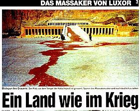 The Swiss tabloid Blick turned a puddle of water into a river of blood flowing  from the temple of Hatshepsut, the site of the Luxor massacre