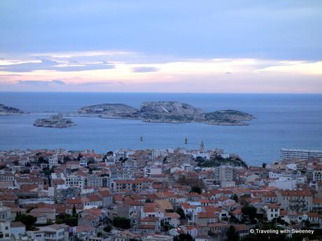View of the Iles du Frioul and sailboats on the Mediterranean