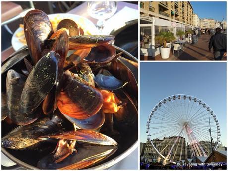 Steamed mussels for lunch along the Quai du Port, Foire aux Santons ferris wheel