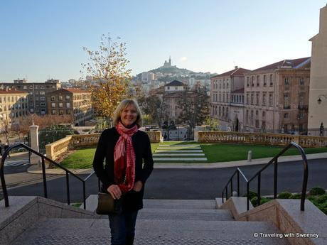 Arrived in Marseille! Beautiful backdrop of Marseille's Eiffel Tower, Basilica Notre Dame de la Garde from the steps of the InterContinental Marseille Hôtel Dieu