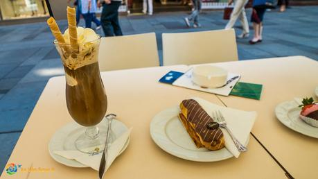 Viennese iced coffee and pastry