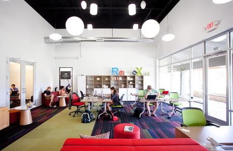 Colorful coworking space in Austin