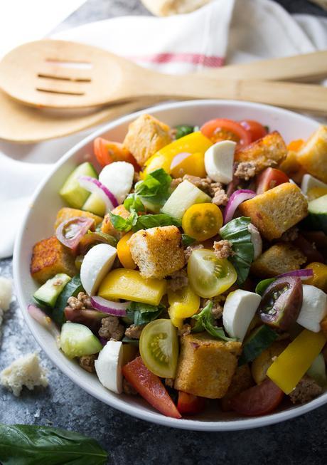 Sausage and Pepper Panzanella Salad with Smoky Buttermilk Vinaigrette   sweetpeasandsaffron.com @sweetpeasaffron