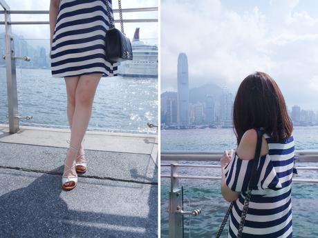 Daisybutter - Hong Kong Lifestyle and Fashion: how to style a striped dress, Topshop Fairy lace-up sandals, CHANEL Boy, Victoria Harbour HK outfit photos