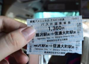 Bus Ticket Price, Alpine Route by JR Pass Japan Rail
