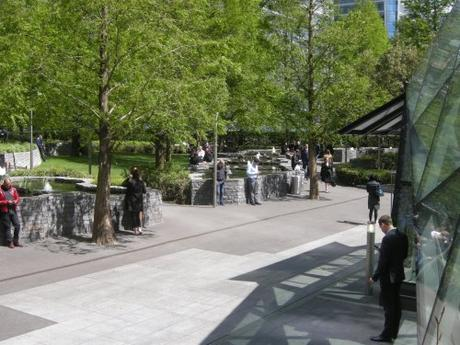 Jubilee Park, Canary Wharf, London - Open space in front of Underground exist