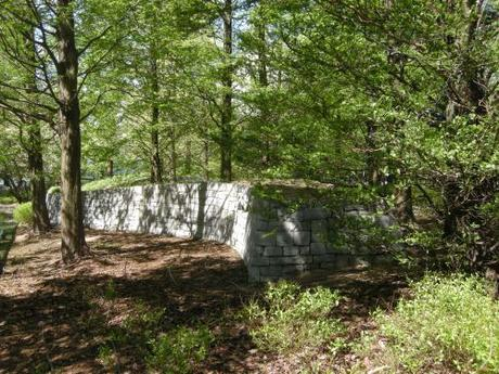 Jubilee Park, Canary Wharf, London - Serpentine wall in Woodland