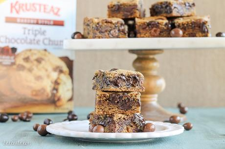 These Chocolate Chunk Espresso Blondies are soft and chewy with a burst of coffee flavor, tons of melted chocolate, and a little crunch from chocolate covered espresso beans!