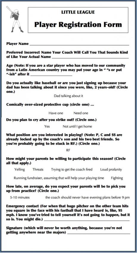 Little League Player Registration Form - Paperblog