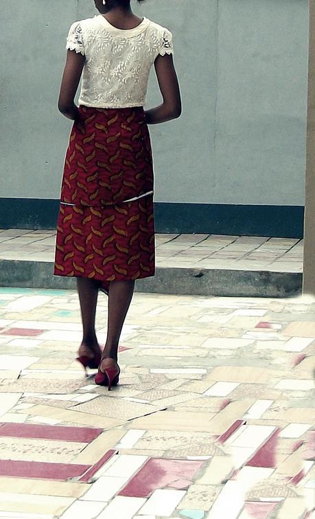DIY Asymmetric Hem Ankara Skirt