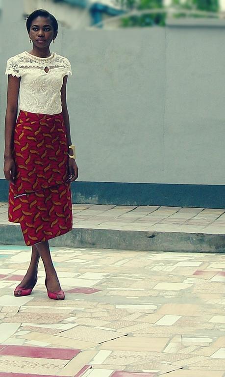 Asymmetric hem Ankara skirt