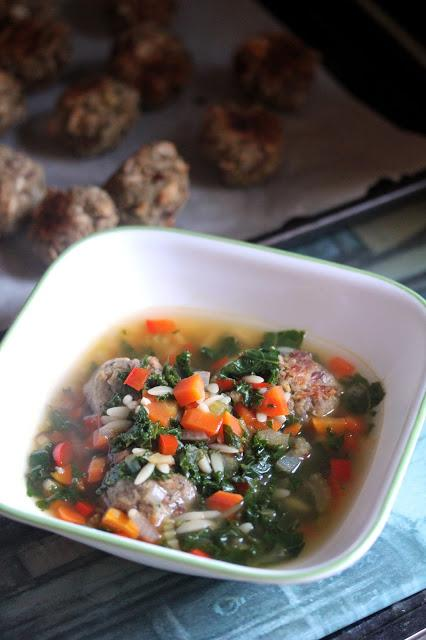 Kale and Orzo Soup with White Beanballs