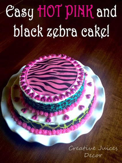 DIY HOT PINK and BLACK ZEBRA STRIPED Birthday Cake Paperblog