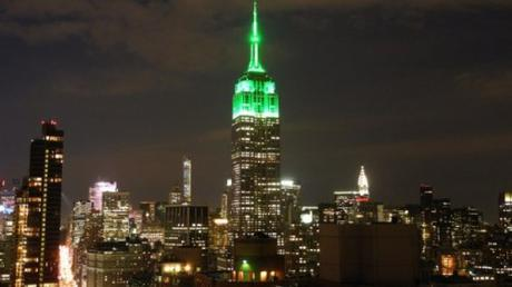 Empire State Building lit green, July 17, 2015.