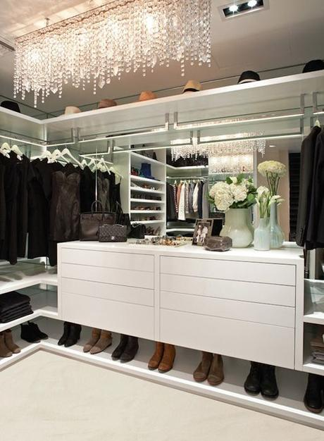 Closet Design Ideas...mirrors on wall behind hanging clothes. will make it feel much more open too.