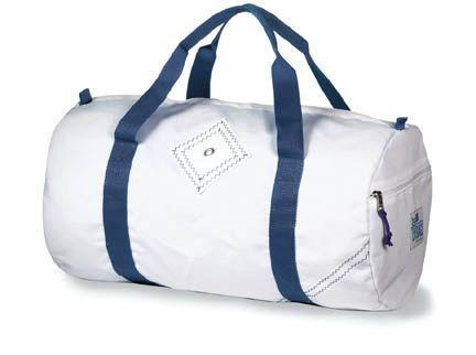 Custom Sailorbags Medium Sailcloth Round Duffel Bags White/Blue