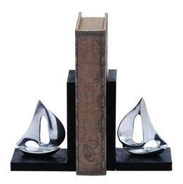 Benzara Versatile Style Aluminum Sailboat Bookend with Worn-Out Look - 26916
