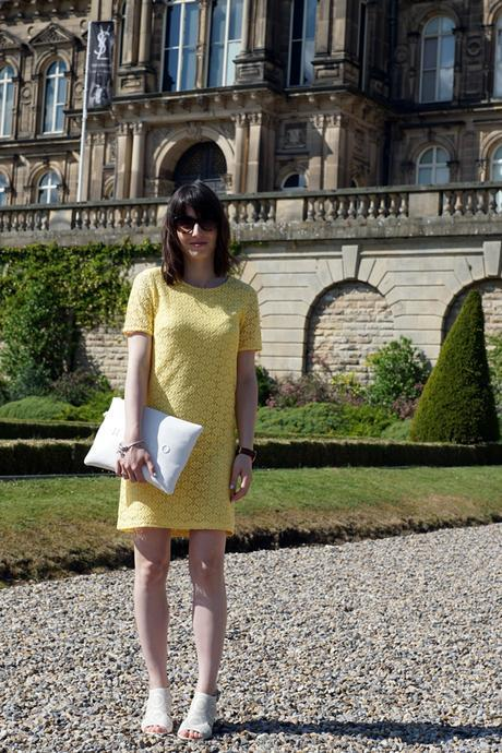 Hello Freckles Yellow Dress Bowes Museum Nebloggers outfit
