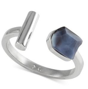 Silver-Tone Nugget and Tube Ring