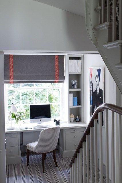 Genius Ideas for Utilizing Your Home's Nooks and Crannies// stair landing office, built-in desk