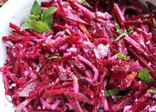 Raw Beet Salad with Mint and Pear (Gluten Free)