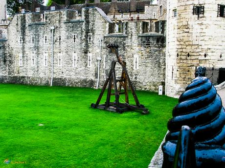 A replica catapult in the moat area.