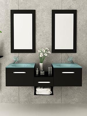 estrella double bathroom wall mounted vanity jwh living minimalist modern design small tiny petite glass top