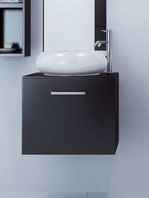 Orion Single Vessel Sink Vanity Small Tiny Petite Bathroom Floating Modern Design Oak Hardwood Porcelain