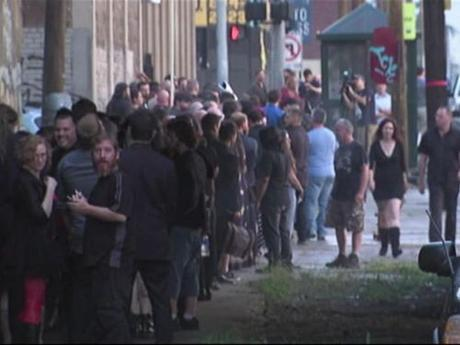 satanists eagerly awaiting the unveiling of baphomet, Detroit, July 25, 2015